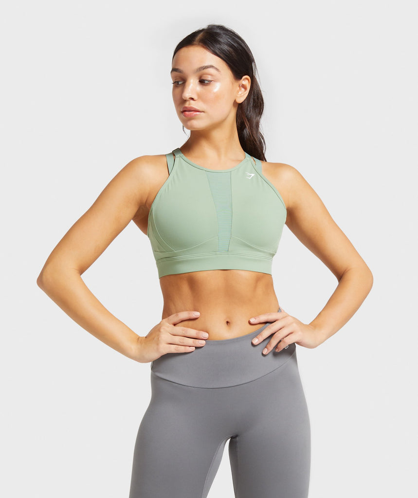 Gymshark Mesh Neckline Training Sports Bra - Green 1