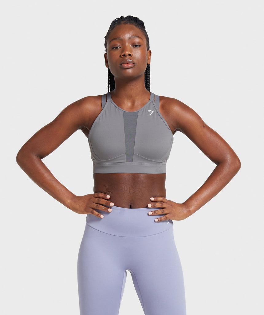 Gymshark Mesh Neckline Training Sports Bra - Smokey Grey 1