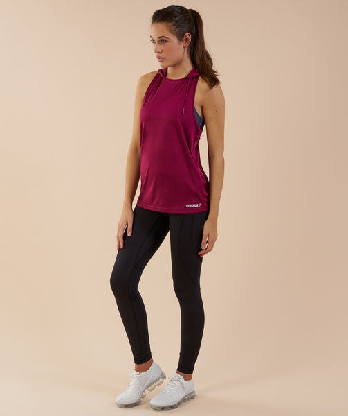 Gymshark Hooded Vest - Deep Plum 2