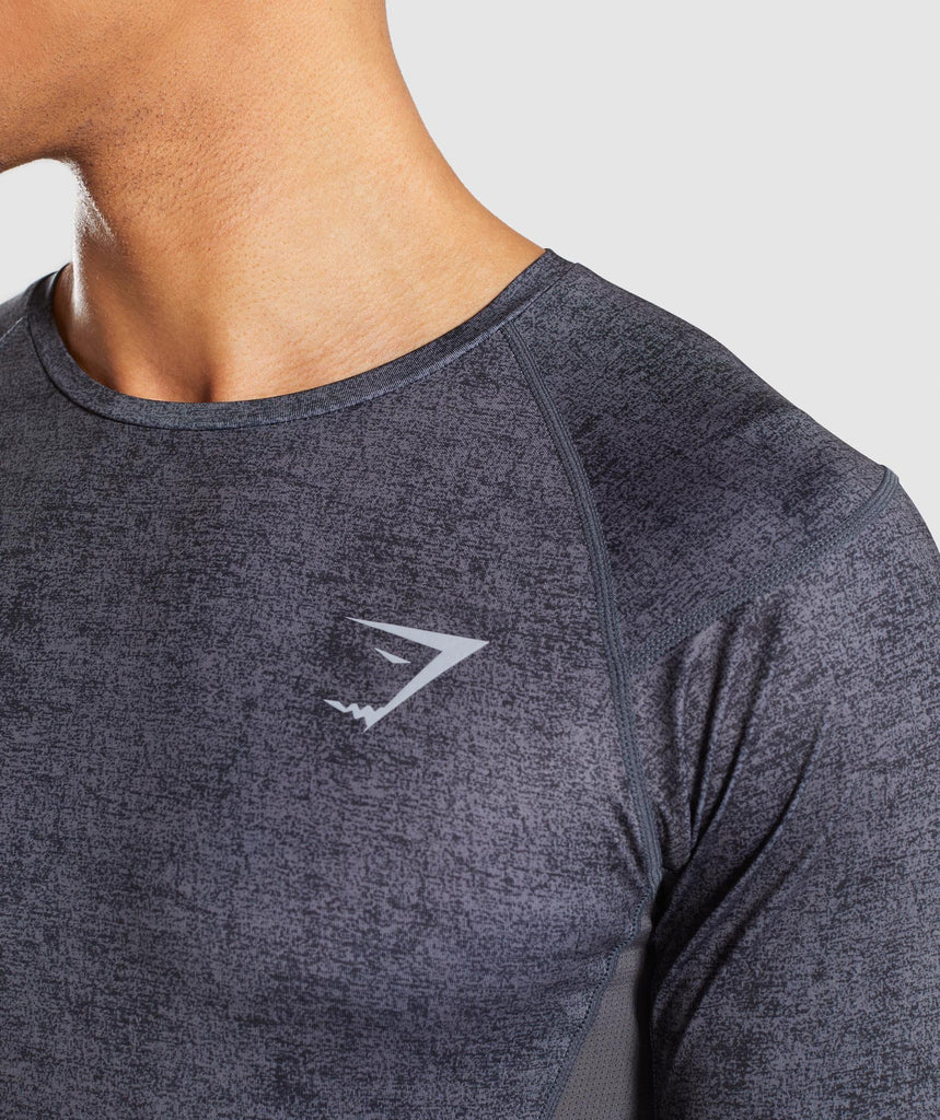 Gymshark Hybrid Baselayer Top - Charcoal Marl 5
