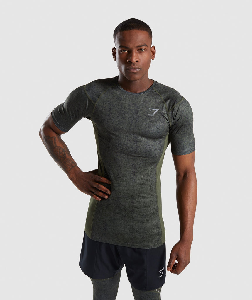 Gymshark Hybrid Baselayer Top - Woodland Green Marl 1