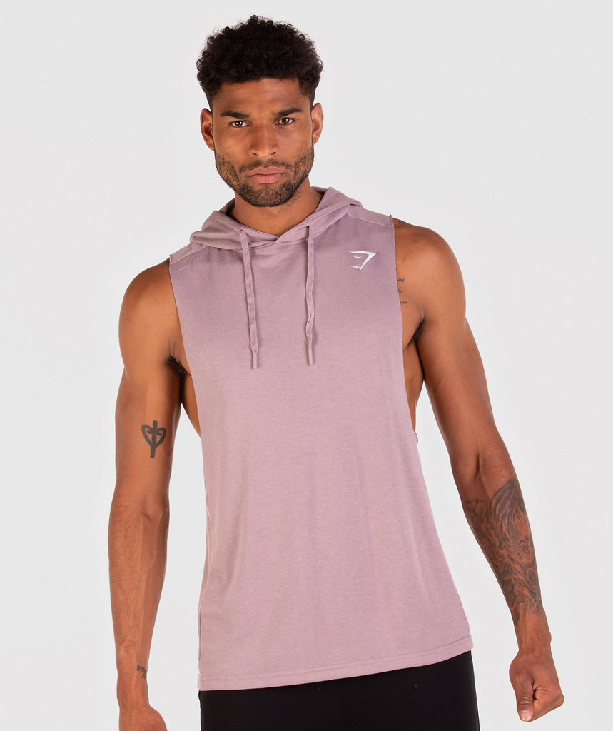 Gymshark Drop Arm Sleeveless Hoodie - Purple Chalk 1
