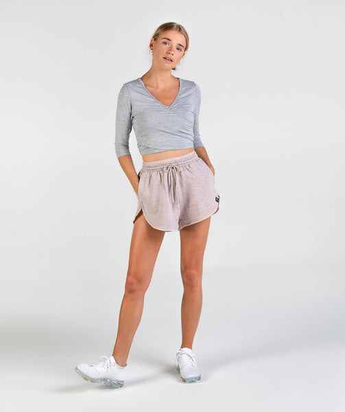 Gymshark Heather Dual Band Shorts - Taupe Marl 2