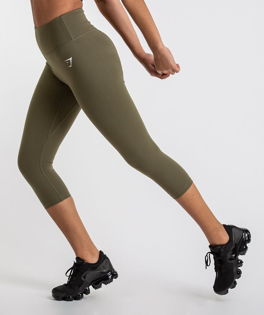 Gymshark Dreamy Cropped Leggings  - Khaki 6