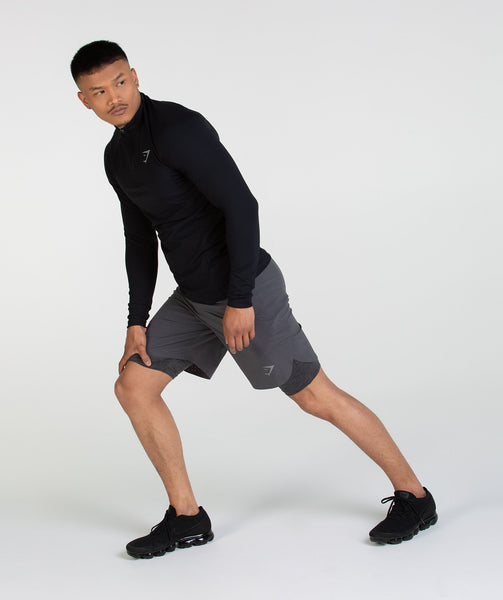 Gymshark Perforated Two In One Shorts - Charcoal 2