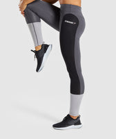 Gymshark Illusion Leggings - Black/Charcoal/Light Grey 9