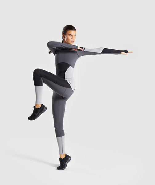 Gymshark Illusion Long Sleeve Top- Black/Charcoal/Light Grey 3