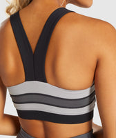 Gymshark Illusion Sports Bra - Black/Charcoal/Light Grey 12