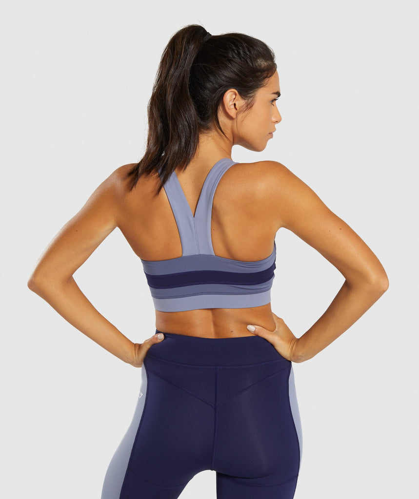Gymshark Illusion Sports Bra - Evening Navy Blue/Steel Blue/Night Shadow Blue 2