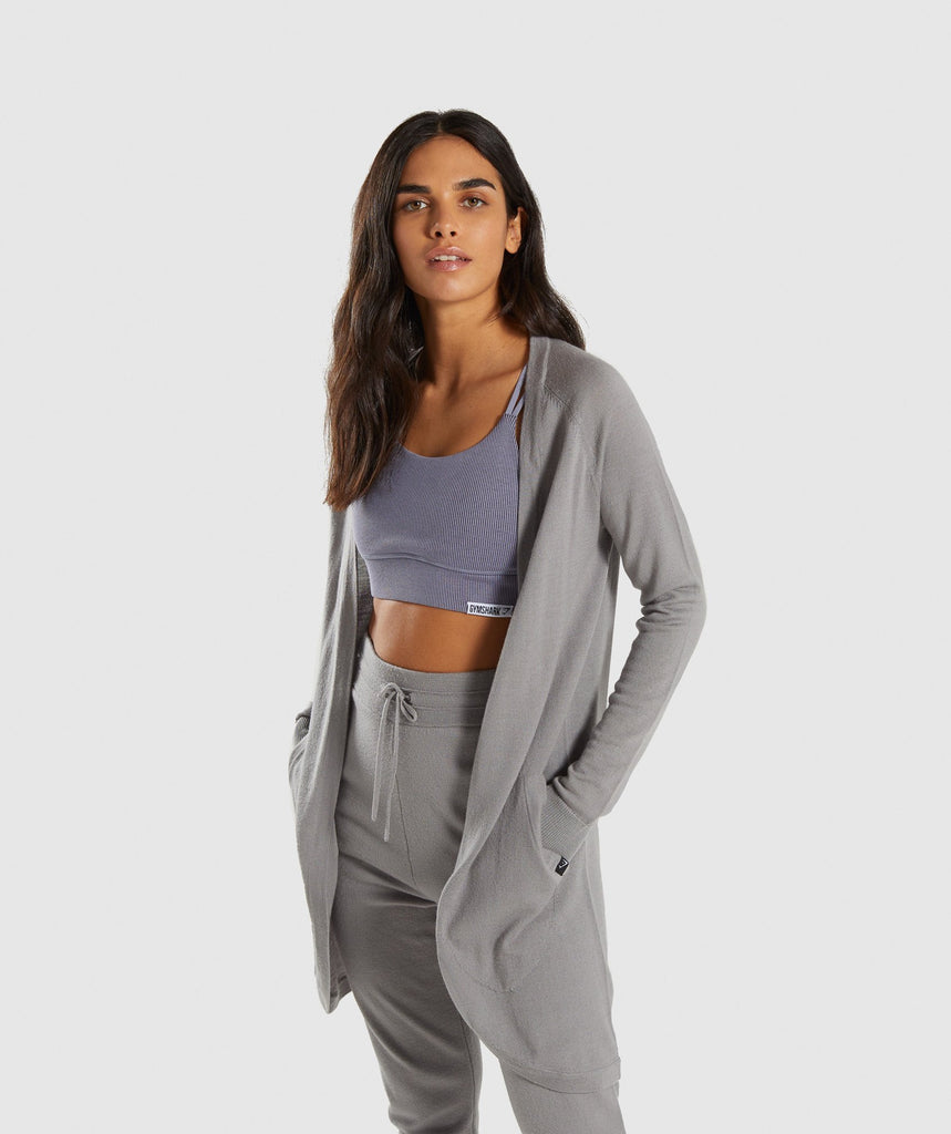Gymshark Isla Knit Open Cardigan - Light Grey 1