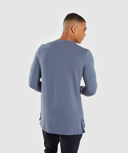 Gymshark Jacquard Back Long Sleeve T-Shirt - Aegean Blue Marl 1