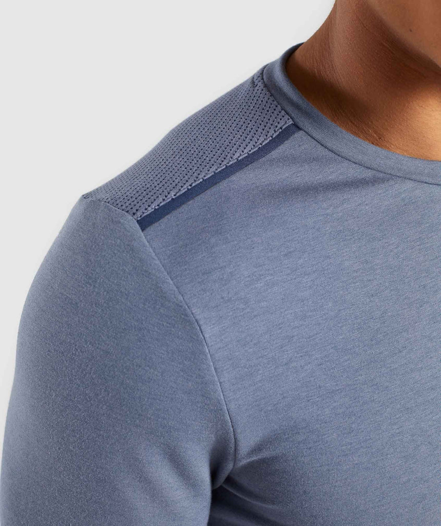 Gymshark Jacquard Back Long Sleeve T-Shirt - Aegean Blue Marl 5