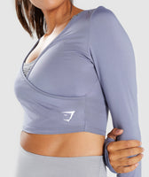Gymshark Long Sleeve Ballet Crop Top - Steel Blue 12