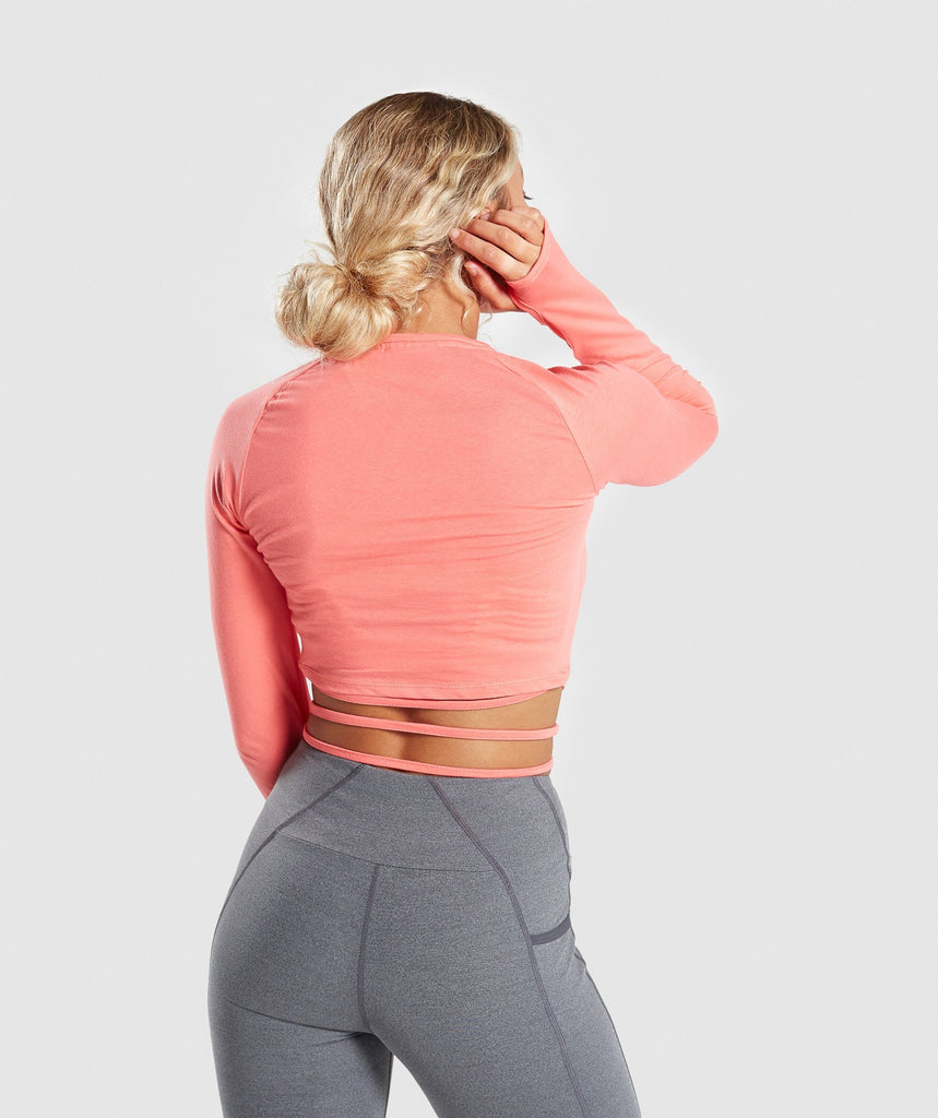Gymshark Long Sleeve Ribbon Crop Top - Peach Coral 2