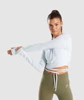 Gymshark Long Sleeve Ribbon Crop Top - Ice Blue 7