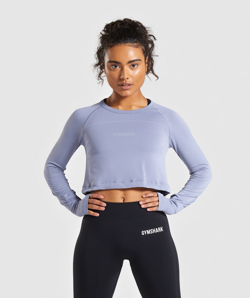 Gymshark Lightweight Seamless Long Sleeve Crop Top - Blue 1