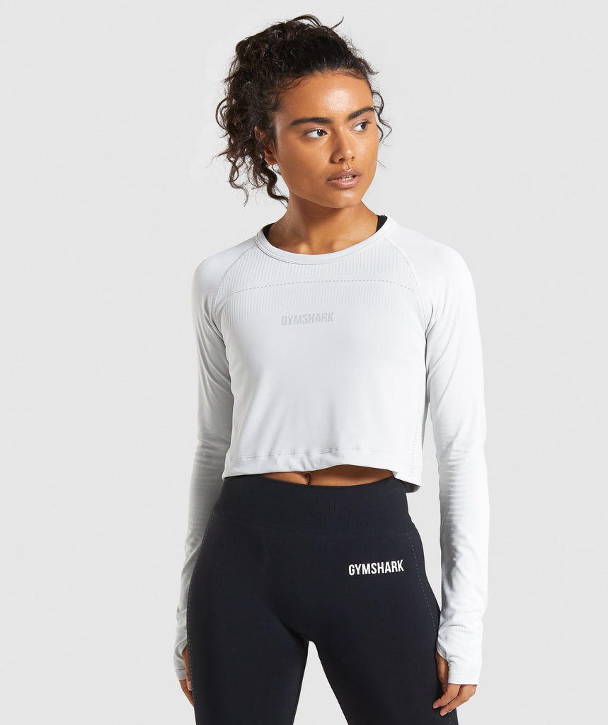 Gymshark Lightweight Seamless Long Sleeve Crop Top - Light Grey 1