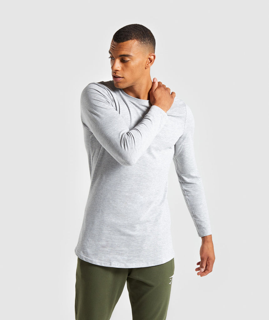 Gymshark Living Long Sleeve T-Shirt - Light Grey Marl 1