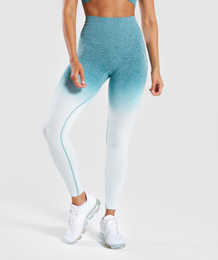 Gymshark Ombre Seamless Leggings  - Deep Teal/Ice Blue 1