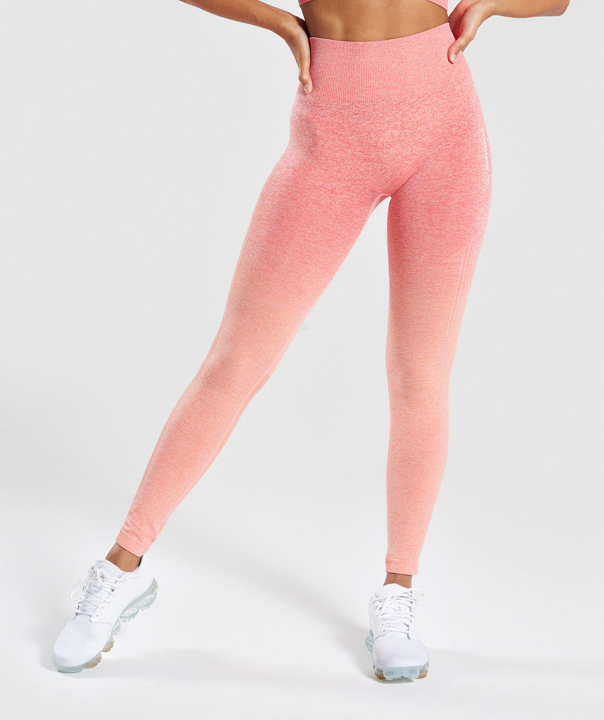 Gymshark Ombre Seamless Leggings  - Peach Coral 1