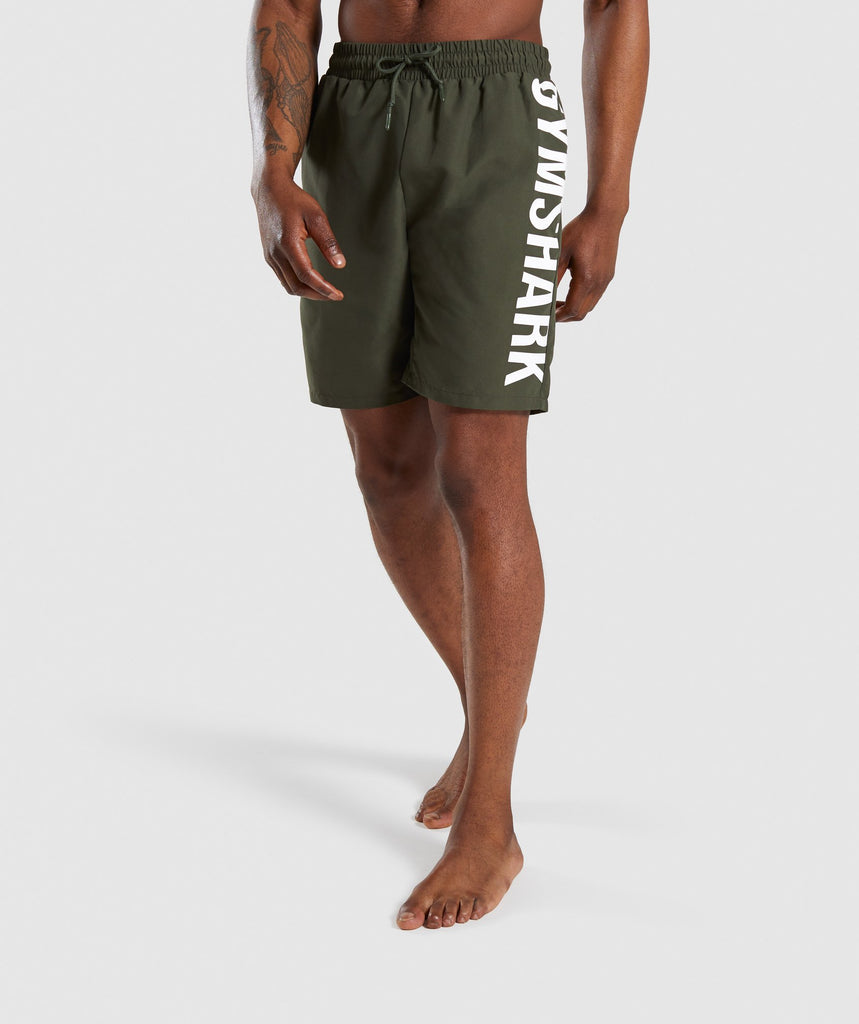 Gymshark Oversized Logo Board Shorts - Green 1