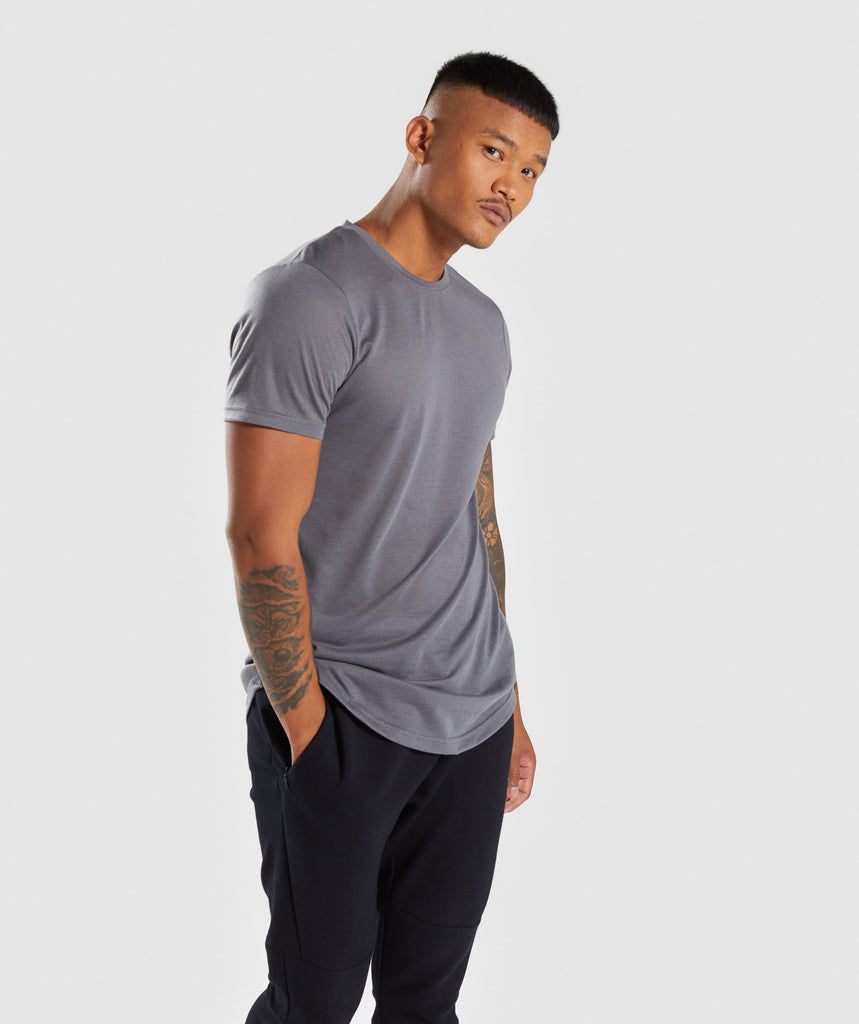 Gymshark Perforated Longline T-Shirt - Smokey Grey 1