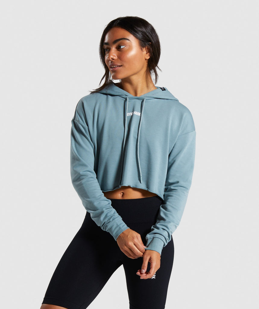 Gymshark Power Down Cropped Hoodie - Turquoise 1