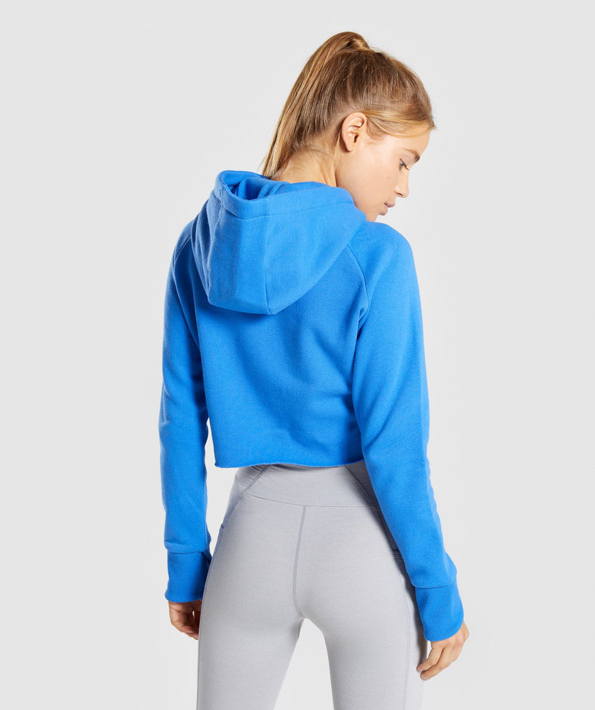 Gymshark Primary Cropped Raw Edge Hoodie - Pop Blue 2