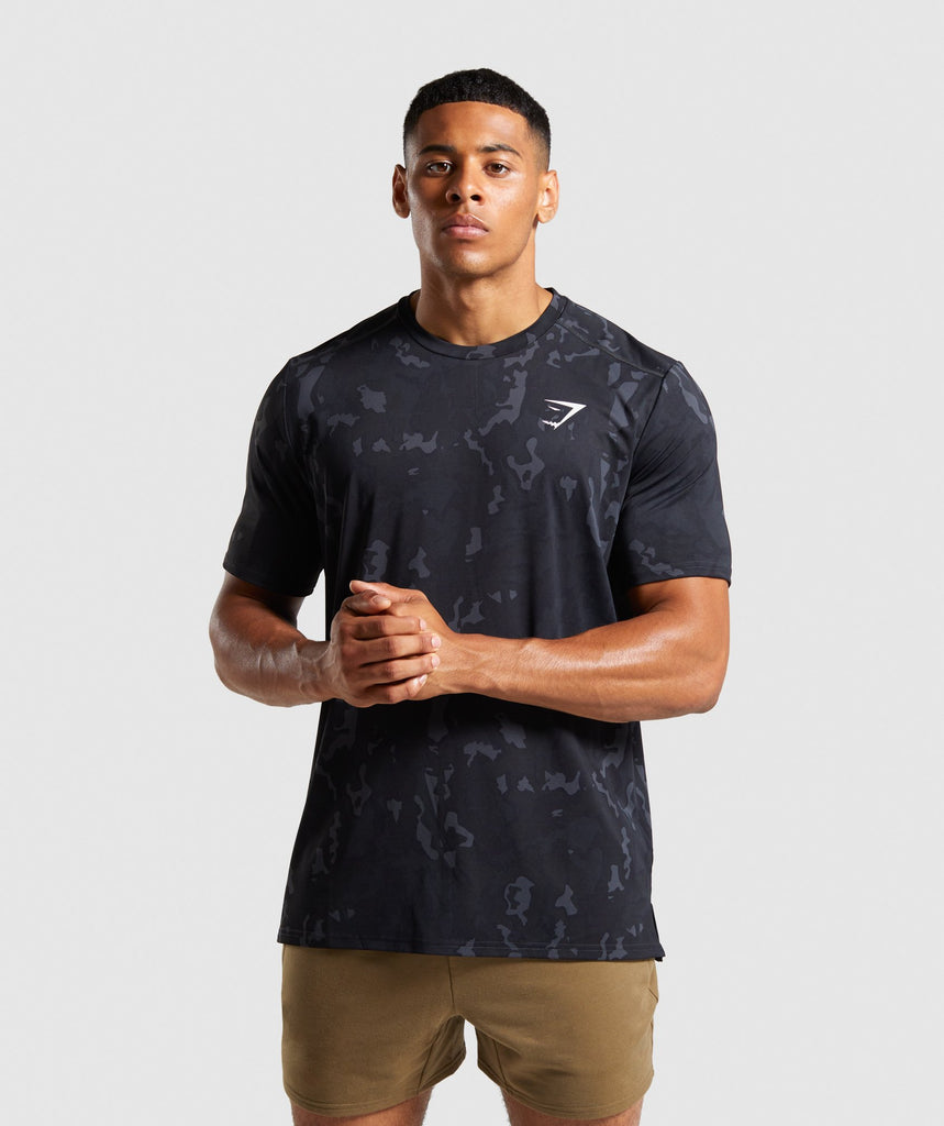 Gymshark Raw T-Shirt - Black Camo 1