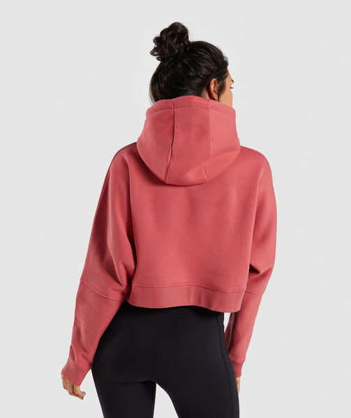 Gymshark Repeat Print Crop Pullover - Rose Brick 1