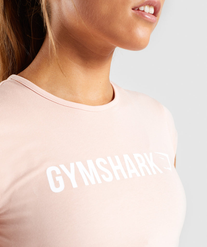 Gymshark Ribbon Capped Sleeve Crop Top - Blush Nude 6