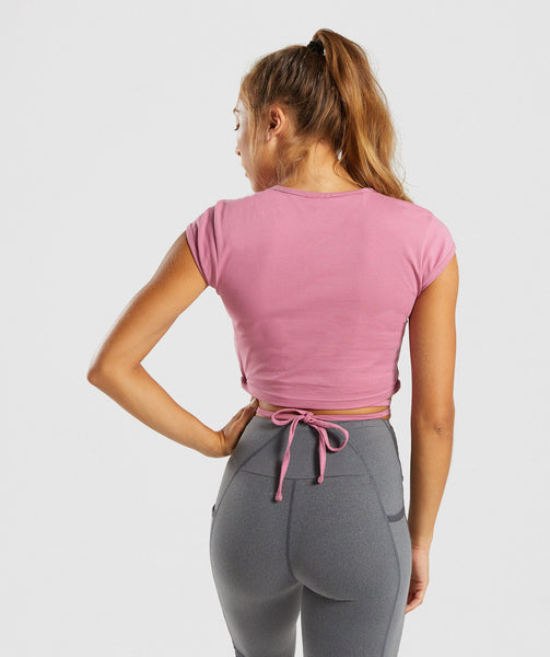 Gymshark Ribbon Capped Sleeve Crop Top - Dusky Pink 1