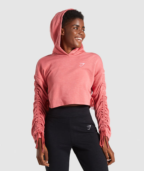 Gymshark Ruched Cropped Hoodie - Brick Red 4