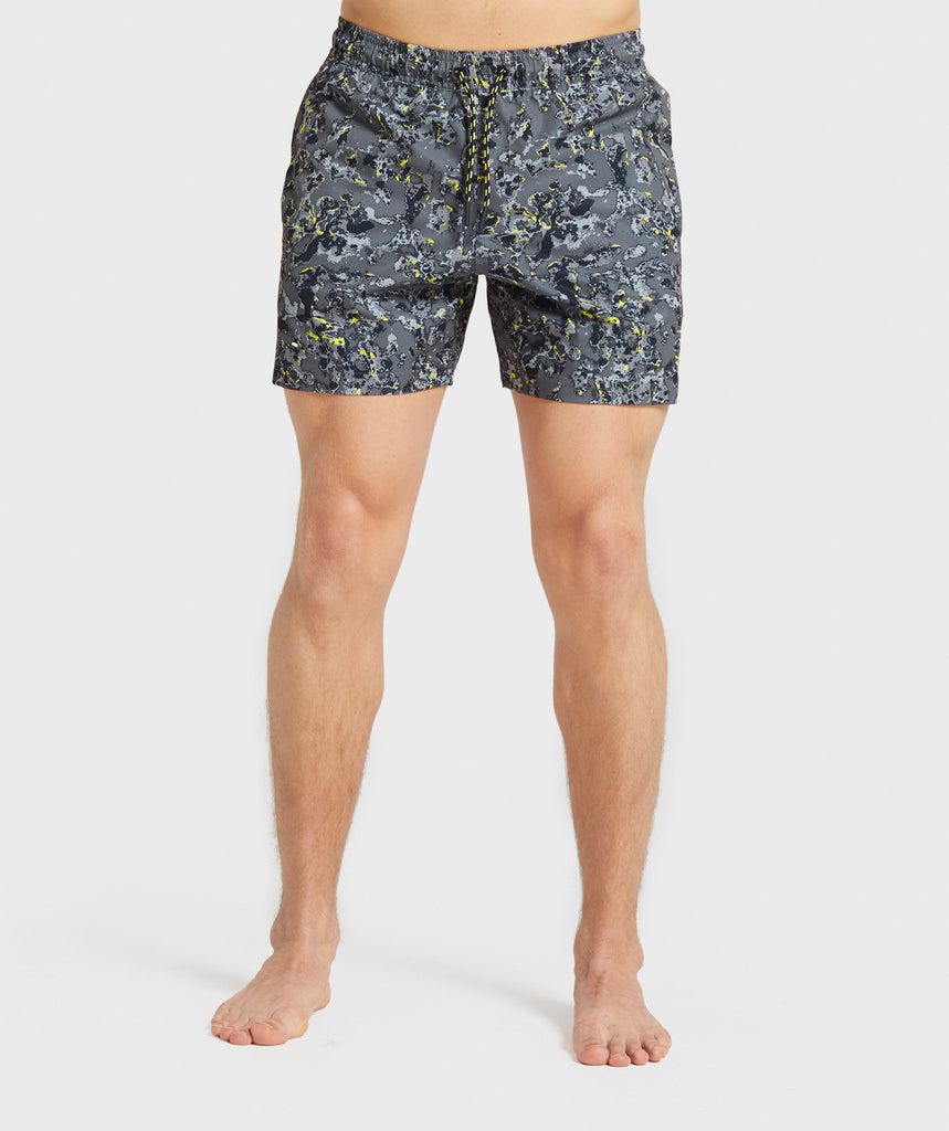Gymshark Swim Shorts - Black/Yellow Print 1