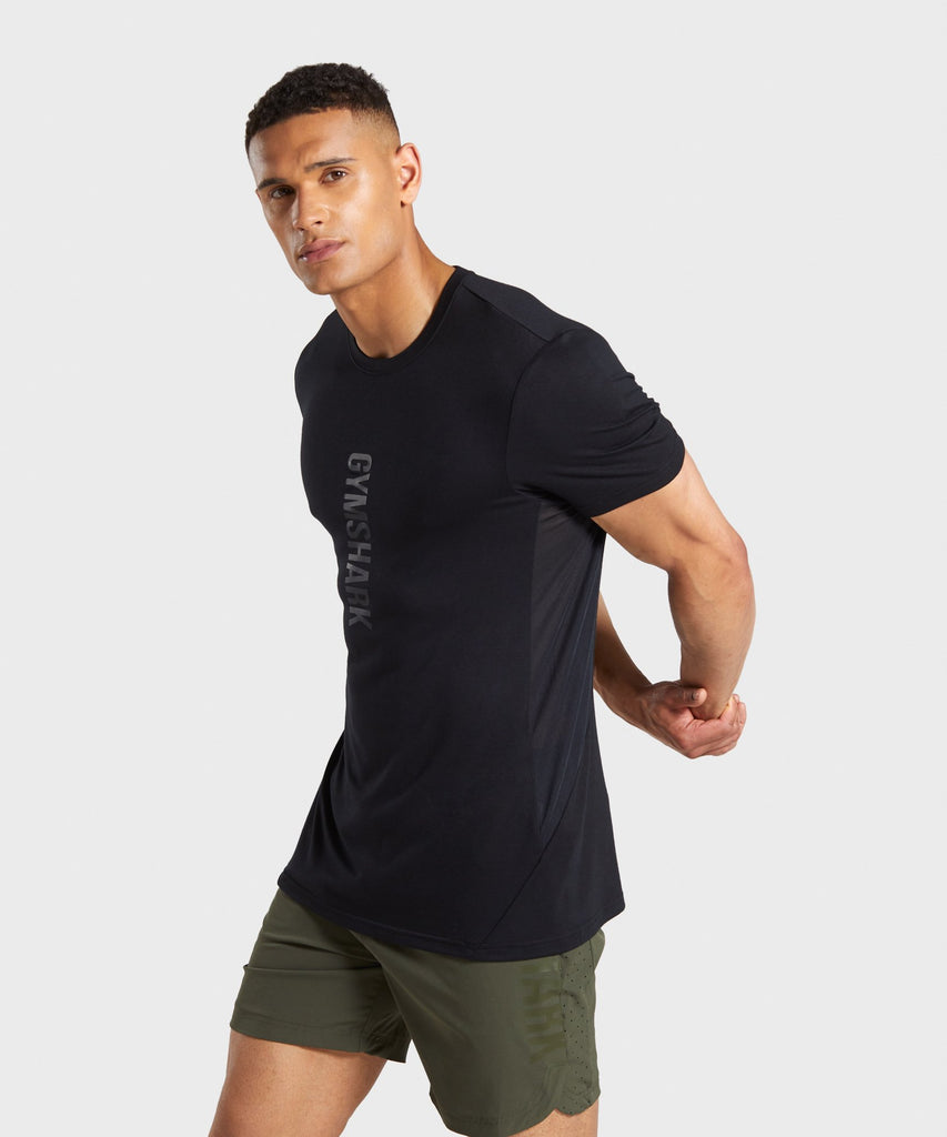 Gymshark Shadow Large Logo T-Shirt - Black 1