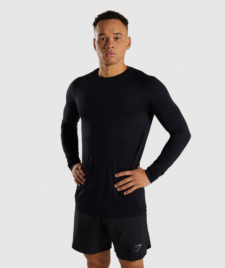 Gymshark Superior Lightweight Seamless Long Sleeve T-Shirt - Black 1
