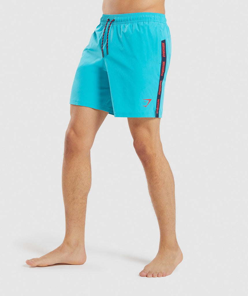 Gymshark Taped Swim Shorts - Teal 1