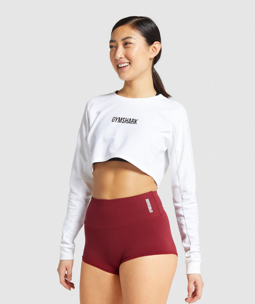 Gymshark Training Cropped Sweater - White 1