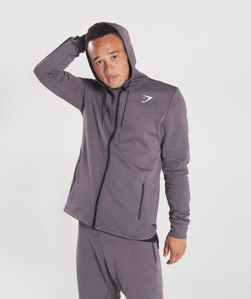 Gymshark Take Over Zip Hoodie - Slate Lavender Marl 1
