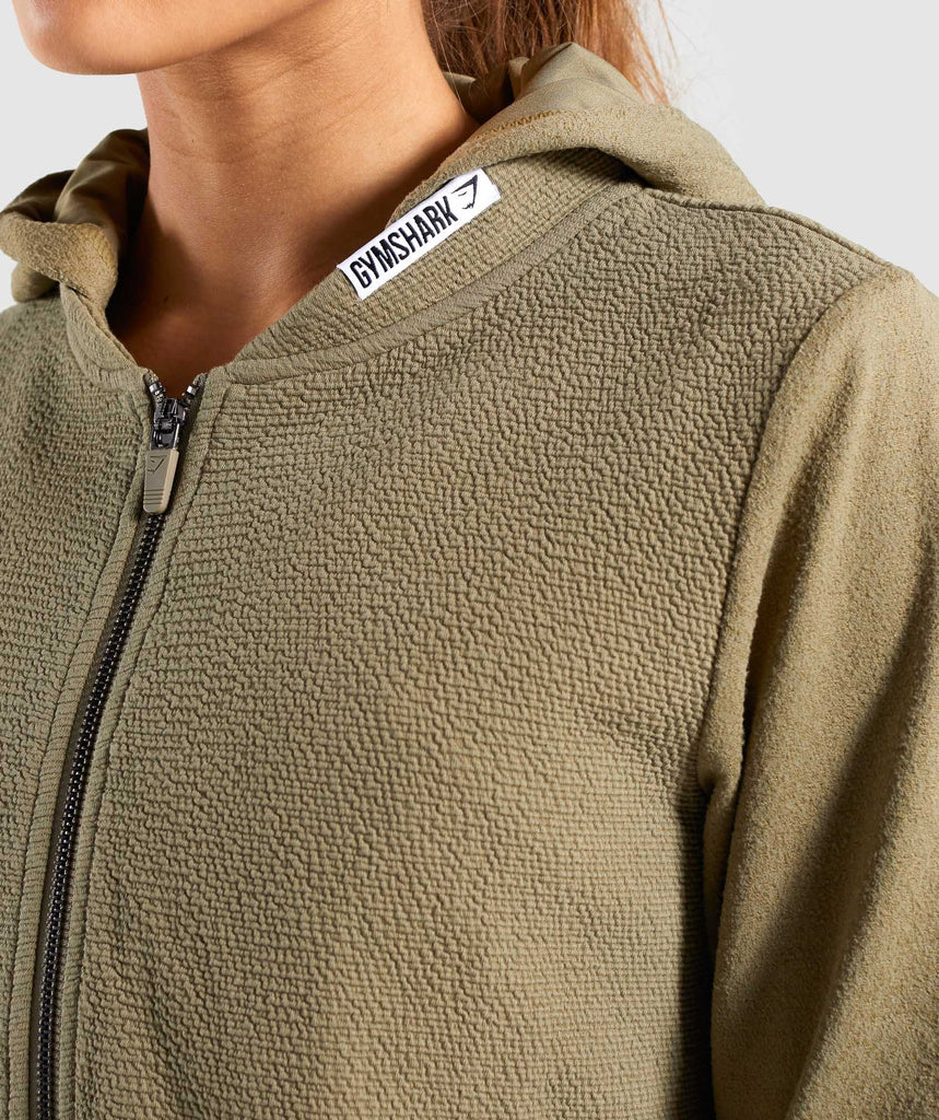 Gymshark True Texture Hooded Bomber Jacket - Washed Khaki 5
