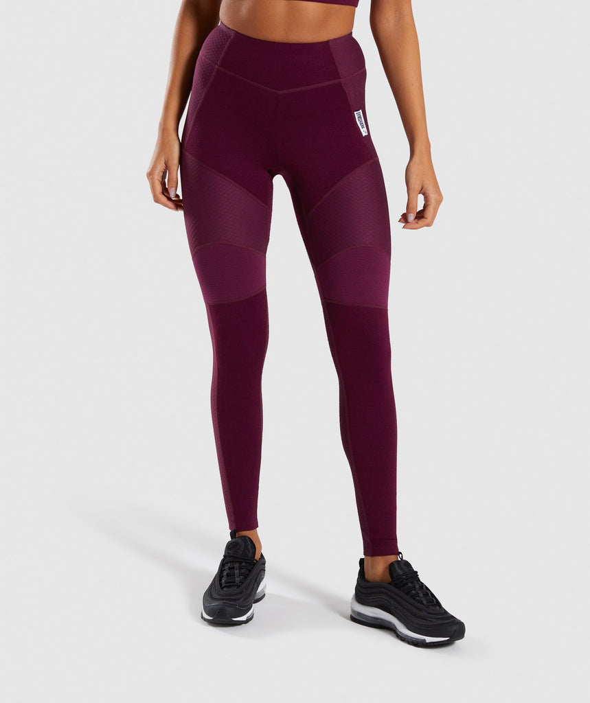 Gymshark True Texture Leggings - Dark Ruby 1