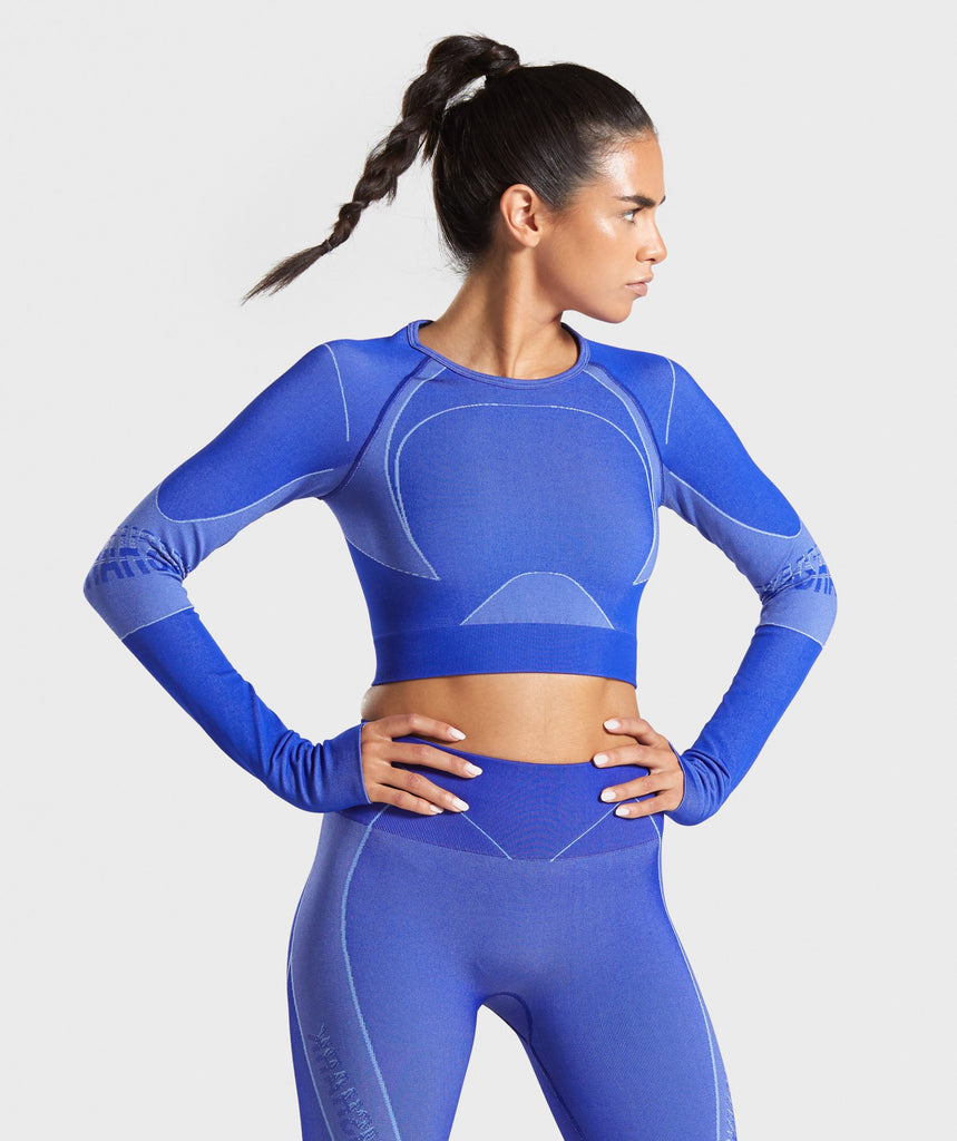 Gymshark Turbo Seamless Crop Top - Cobalt Blue 1