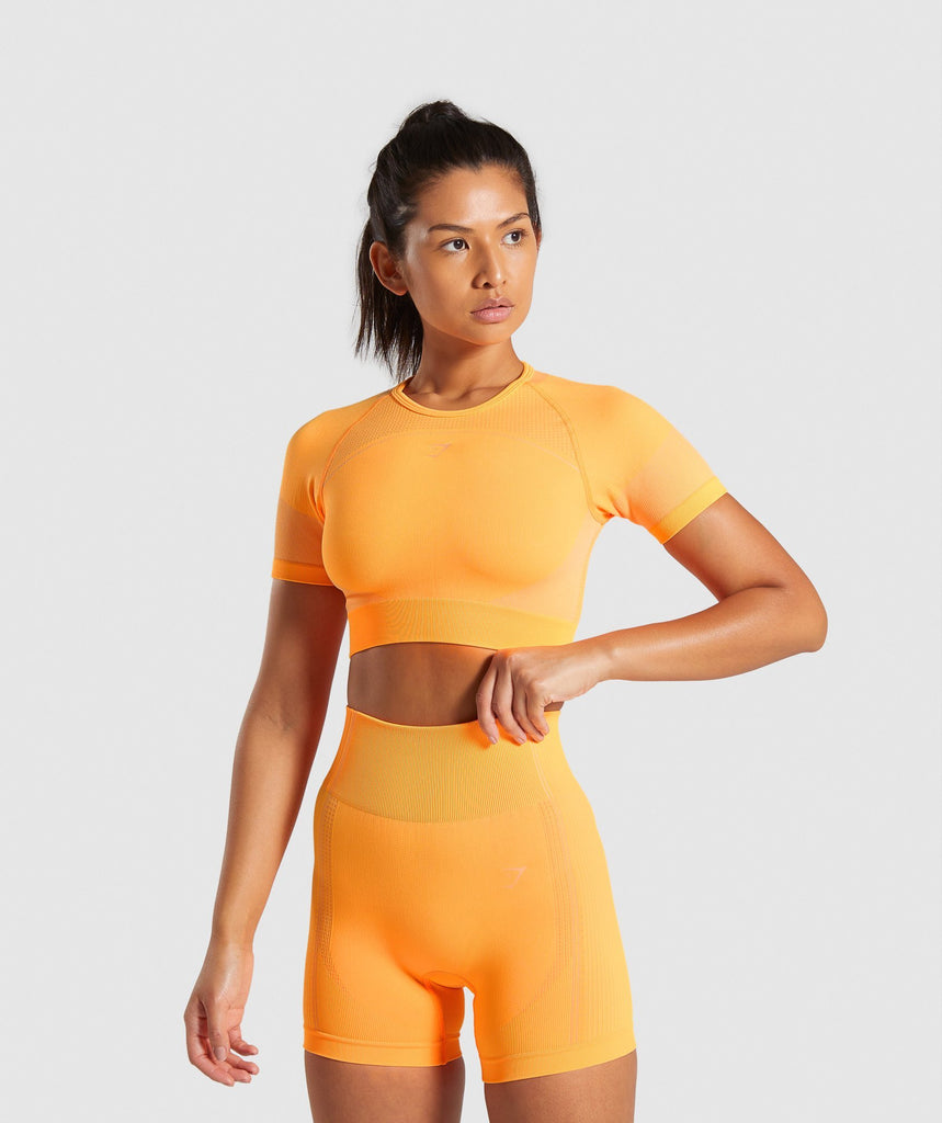 Gymshark Ultra Seamless Crop Top - Orange 1