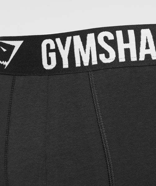 Gymshark Mens Trunks 2pk - Black/White 3
