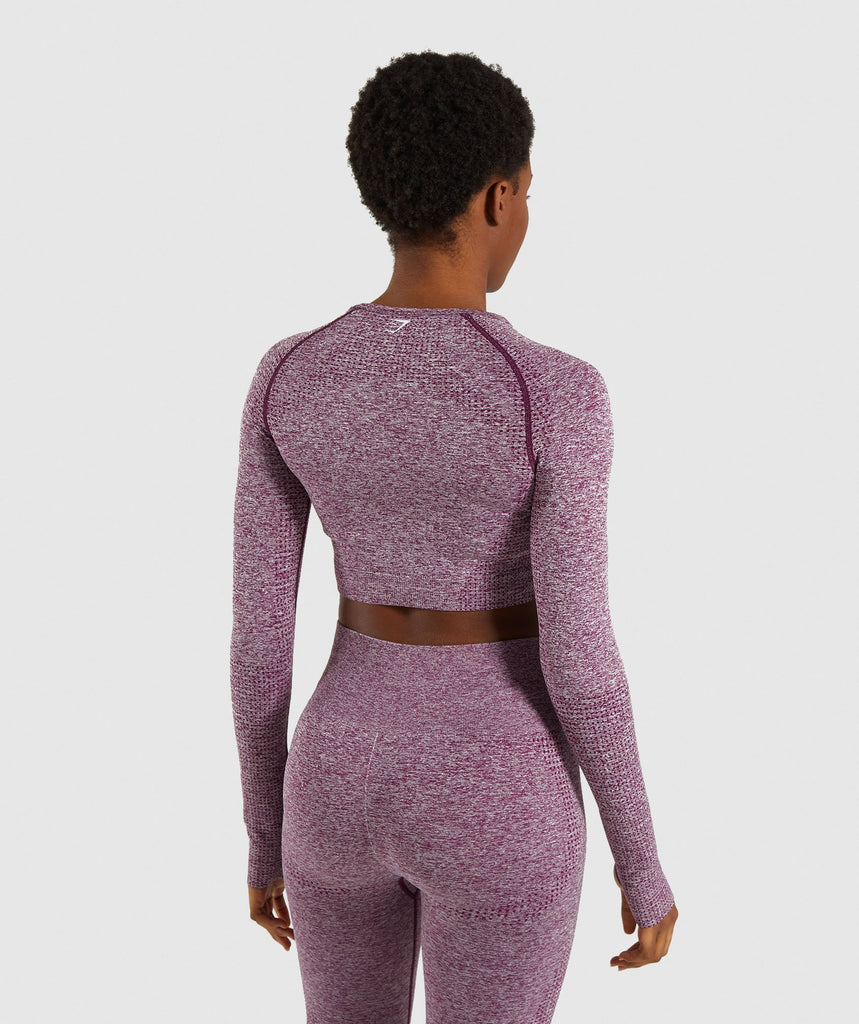 Gymshark Vital Seamless Long Sleeve Crop Top - Purple 2