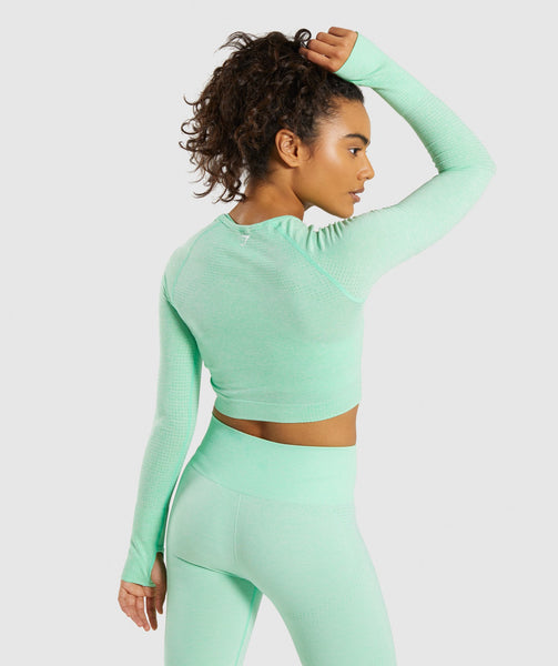 Gymshark Vital Seamless Long Sleeve Crop Top - Green 4