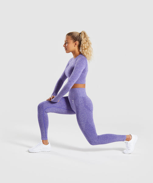 Gymshark Vital Long Sleeve Crop Top - Indigo Marl 3