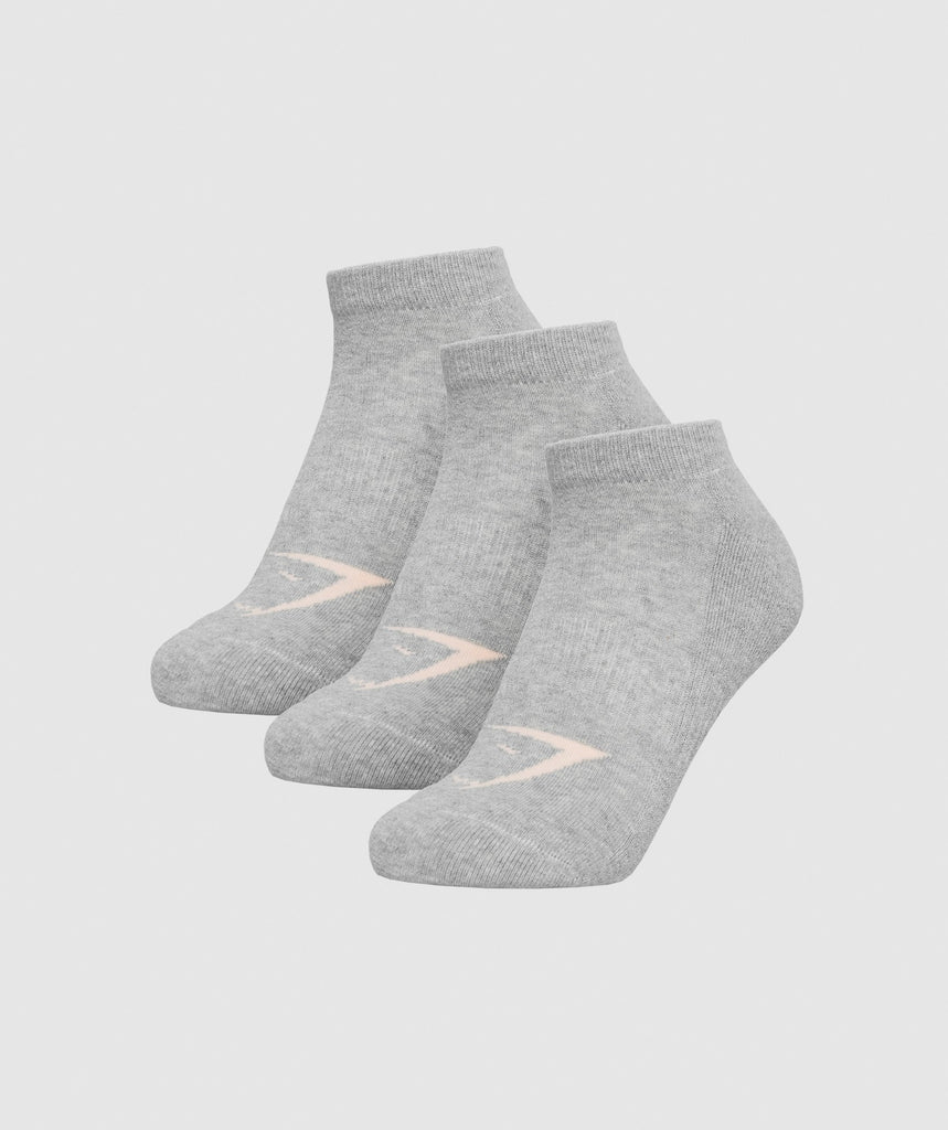 Gymshark Womens Ladies Trainer Socks (3pk)  - Grey 1