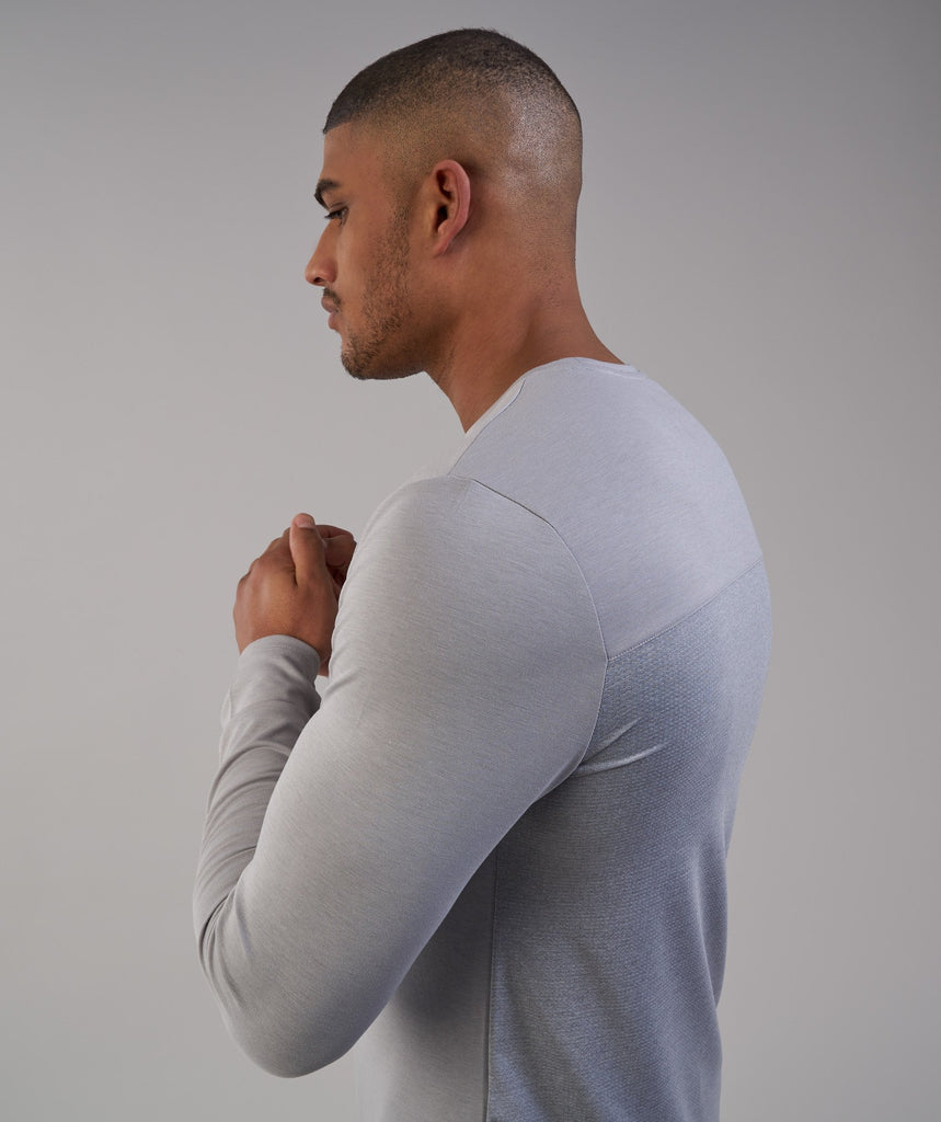 Gymshark Breathe Long Sleeve T-Shirt - Light Grey Marl 5