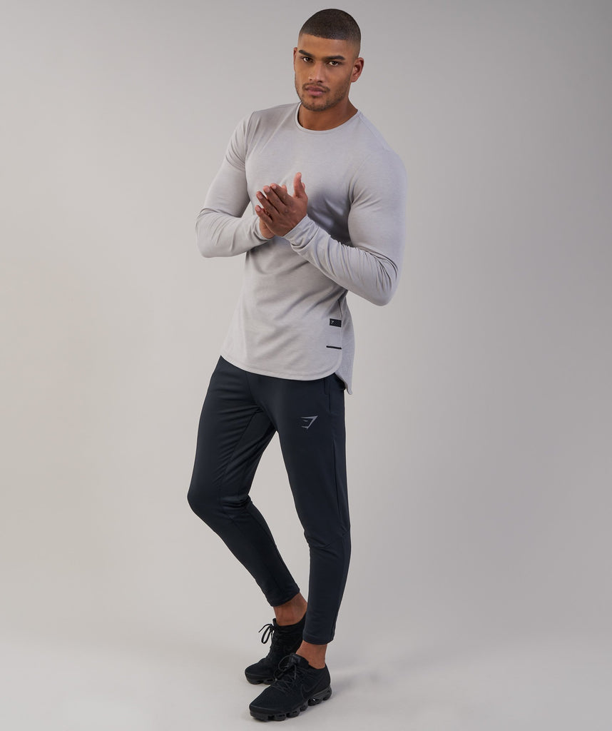 Gymshark Breathe Long Sleeve T-Shirt - Light Grey Marl 4